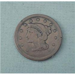 1854 Large Cent Coronet Head Braided -Very High Grade