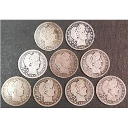 Lot of 9 Barber Quarters 90% Silver 1902-1916 Nice Coin