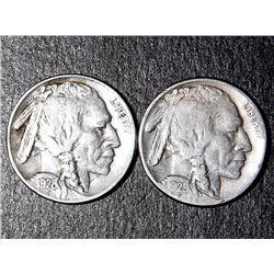 2 Buffalo Nickels 1928-S 1929-S High Grade Coins
