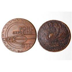 2 1933 1934 Chicago World's Fair Coins Medal Token