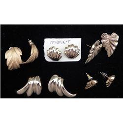 5 Prs Leaf, Leaves & Shell Gold Tone Earrings, 1 Monet