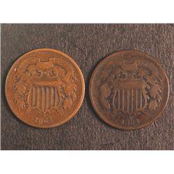2 1864 2 Cents Coins Hi Grade Two Cent Pieces