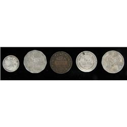India - 5 Different Coins - Some Silver