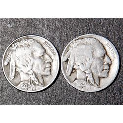 2 Buffalo Nickels 1929-D 1929-S Nice Coins