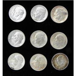 9 Different Date Roosevelt Gem Unc Dimes - 1946-1964-D