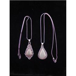 2 Dif Rose Quartz Sterling Teardrop Pendants, Necklaces