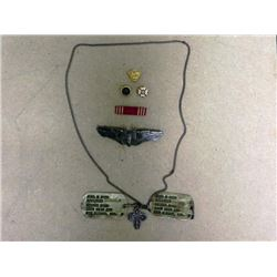 WWII USAAF BOMBADIER GROUPING- BOMBADIER WINGS-DOGTAGS