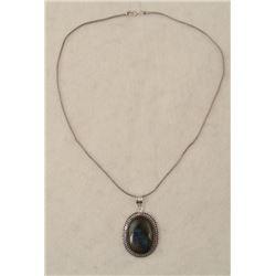 Labradorite Sterling Oval Pendant Necklace