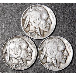3 Buffalo Nickels 1934-D 1936-D 1938-D Coins RARE