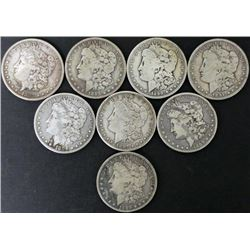 8) Different Date Silver Dollar Morgan Coins O & S Mint