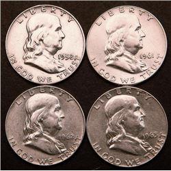 UNC Franklin Silver Half Dollars 1958D 1961 1962D 1963D