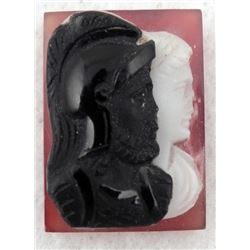 Roman Soldiers Vintage Carved Cameo Pendant Stone