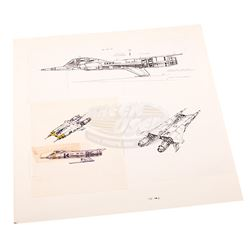 """Buck Rogers in the 25th Century (TV) - Original Ralph McQuarrie """"Thunderfighter"""" Concept Sketch"""