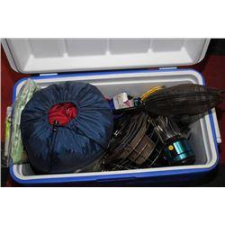 BLUE & WHITE COOLER W/ SLEEPING BAG, PROPANE
