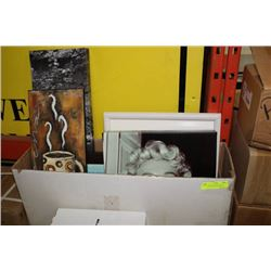 BOX W VARIOUS PLAQUES & PICTURES INCLUDING MARILYN