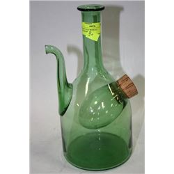 BLOWN GLASS WHISKEY JUG WITH ICE COMPARTMENT