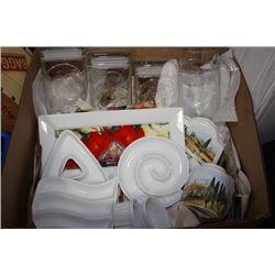 BOX W/ CANISTERS, DIP & FOOD PRESENTATION DISHWEAR