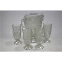 IRIS AND HERRINGBONE JUICE PITCHER W/GLASSES
