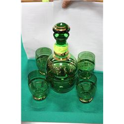 ESTATE DECANTER SET (GREEN AND GOLD)