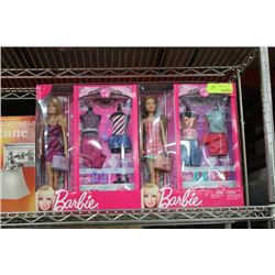 NEW 2 PK OF BARBIES W WARDROBES