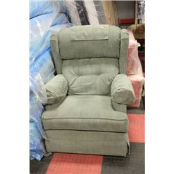 GREEN FABRIC ROCKING RECLINER CHAIR