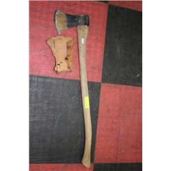 LARGE WOOD HANDLED AXE