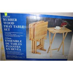 5 PC RUBBERWOOD TRAY TABLE SET