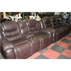 NEW CHOCOLATE BROWN LEATHER RECLINING SOFA W