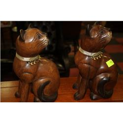 PAIR OF WOOD CARVED CAT ORNAMENTS