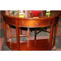 WOOD HALF MOON TABLE W DRAWER