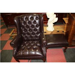 NEW BROWN LEATHERETTE WING BACK PARLOUR CHAIR W