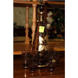 VINTAGE BROWN GLASS DECANTER SET