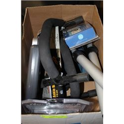 BOX OF EXCERCISE EQUIPMENT ACCESSORIES
