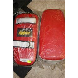 "PAIR OF 16"" RED KICKBOXING KICKING/PUCHING PADS"