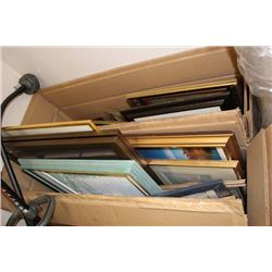 TWO BOXES OF ESTATE PICTURS INCLUDES OIL ON CANVAS