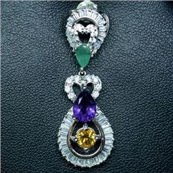STERLING SILVER EMERALD, AMETHYST, CITRINE & TOPAZ PENDANT