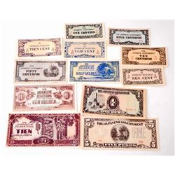 LOT OF 12 WW2 JAPANESE OCCUPATION CURRENCY - MONIES / BILLS