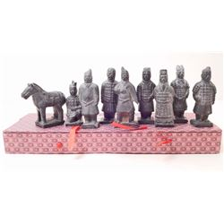 SET OF 9 TERRA COTTA WARRIORS AND HORSE IN BOX