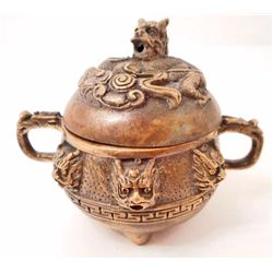 BRASS DRAGON INCENSE BURNER W/ DRAGON HEADS & HANDLES