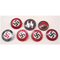 LOT OF 7 GERMAN NAZI ENAMELED PARTY PINS