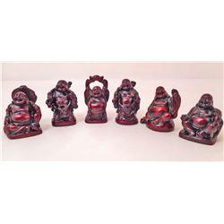 SET OF 6 MINIATURE LAUGHING BUDDHA FIGURES