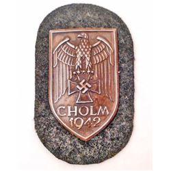 GERMAN NAZI CHOLM SHIELD W/ GREEN WOOL BACKING