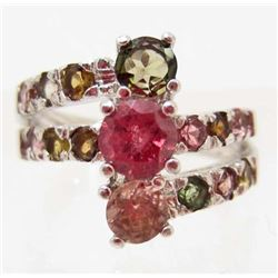 WHITE GOLD OVER STERLING SILVER RED TOURMALINE RING - SIZE 6.5