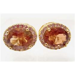 14KT GOLD OVER STERLING SILVER CHAMPAGNE TOPAZ EARRINGS