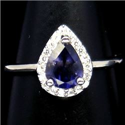 WHITE GOLD OVER STERLING SILVER PURPLE IOLITE RING