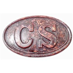 CONFEDERATE STATES CIVIL WAR ARMY ENLISTED MANS CARTOUCHE BOX PLATE
