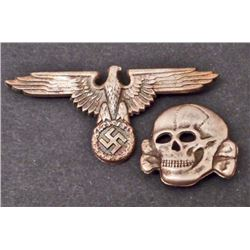 GERMAN NAZI WAFFEN SS OFFICERS VISOR CAP EAGLE & SKULL