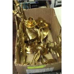 BOX OF INDIA BRASS CANDLESTICKS