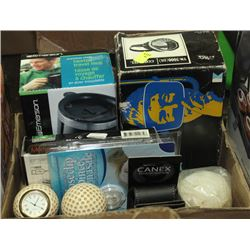 MEN'S MISC BOX, HEATED TRAVEL MUGS, DIVERS MASK,