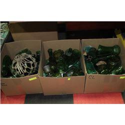 BOX OF GREEN GLASS ESTATE ORNAMENTS X 3